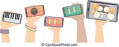 Hands digitale Instrumente stören Illustration.