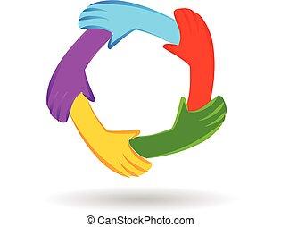Hands Einheit Teamwork Logo.