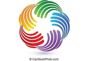 Hands farbenfrohe Verbindungen Logo.