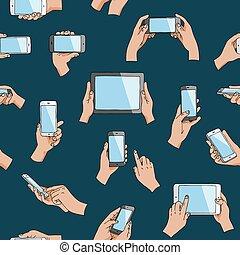 Hands mit Gadgets Vektor Hand halten Handy oder Tablet und Charakter arbeiten auf Smartphone Illustration Set von digitalem Gerät Handy mit Touchscreen isoliert im Hintergrund.