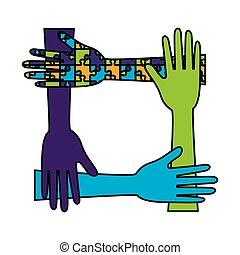 Hands Teamarbeit mit Puzzle-Lösung.