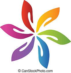 Hands Teamwork-Blumen-Logovektor