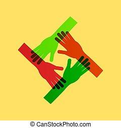 Hands Teamwork. Ein verbindendes Konzept.