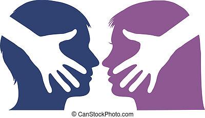 Handschütteln zwischen Mann und Frau.