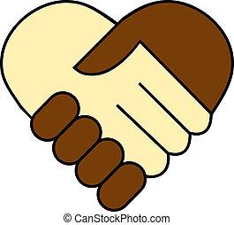 Handschütteln zwischen Schwarz und Weiß