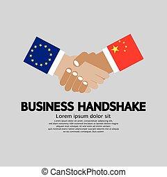 Handschlag-Vektorgrafik. Europäische Union und China