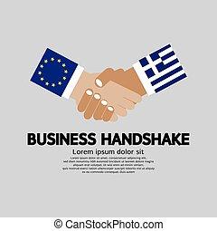Handschlag-Vektorgrafik. Europäische Union und Gier