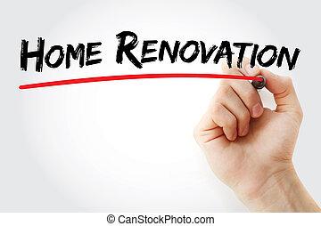 Handschrift Home Renovierung mit Marker.