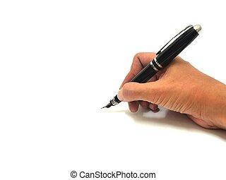 Handschrift mit Stift.