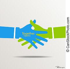 Handshake, Teamwork-Hand-Logo. Vector Illustration.