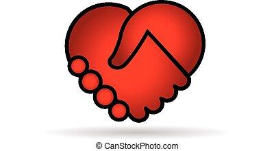 Handshaking roten Herz-Logo Vektor.