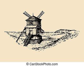 Handskizze der rostigen Windmühle in den Feldern. Vector Landlandschaft Illustration. Mittelmeerland-Poster, Karte.