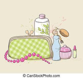 handtasche, kosmetikartikel