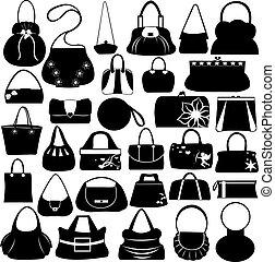 Handtaschen bereit