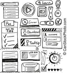 Handvektoren von Benutzerinterface-Elementen