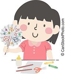 handwerk, abbildung, papierfächer, m�dchen, kind