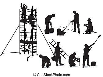 Handwerker und Gerüst