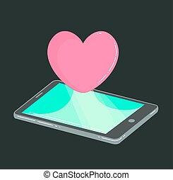 Handy mit Herz wie Ikone im Dunkeln.