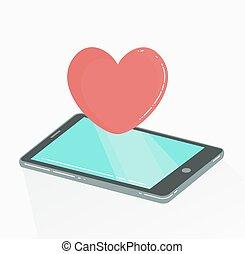 Handy mit rotem Herzen wie Ikone.