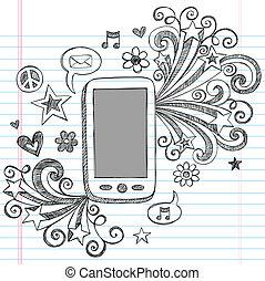 Handy-PDA-Doodle-Vektordesign