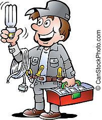 Handyman, hält eine Birne