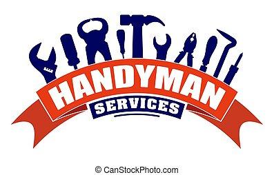 Handyman Services Vektor-Design für Ihr Logo oder Emblem mit Biegen rot Banner und Satz von Arbeiterwerkzeugen. Es gibt Schraubenschlüssel, Schraubenzieher, Hammer, Zange, Löteisen, Schrott.