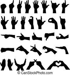 Handzeichen Gesten Silhouetten.