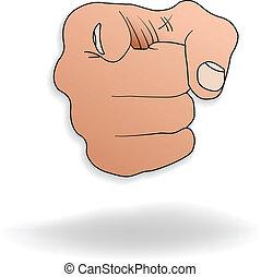 Handzeichen.