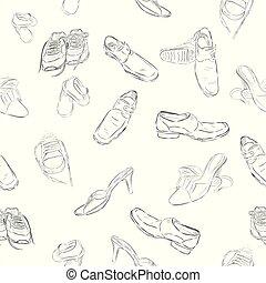 Handzeichnen Skizze Pattern nahtlose Hintergrund-Mann, Frau und Kinderschuhe.