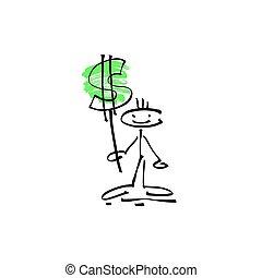 Handzeichner zeichnen menschliches Lächeln mit Dollarzeichen.