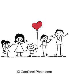 Handzeichnung Cartoon glückliche Familie.