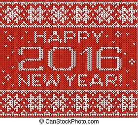 Happy 2016 neue Jahr gestrickte Grußkarte.