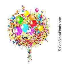 Happy Birthday Illustration mit Ballons für dein Design