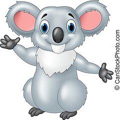 Happy Cartoon koala winkt Hand.