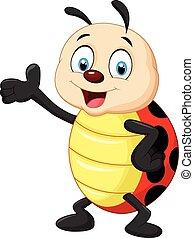 Happy Cartoon Ladybug winkt mit der Hand.