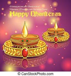 Happy Diwali Juwelierförderung Hintergrund mit Diya.
