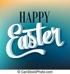Happy Easter Typographie auf verschwommenem Hintergrund
