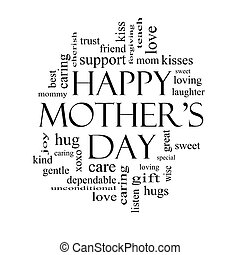 Happy Mother's day word cloud concept in black and white.