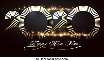 Happy new year 2020 design template on black background