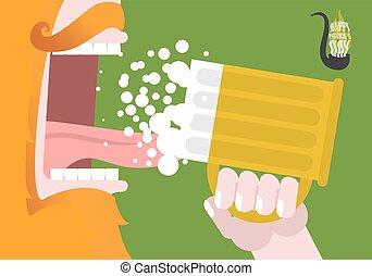 Happy Patricks Day. Leprechaun trinkt Bier. Scary Gnome Reddish Bart und Tasse Ale. Mund und Zunge öffnen. Nationalfeiertag in Irland