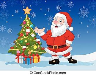 Happy Santa Cartoon winkt.