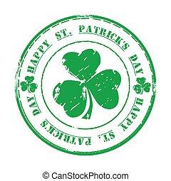 Happy St. Patricks Day. 17. März Grüner Gummistempel mit Klee und Text