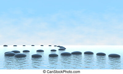Harmony-Konzept. Kieselpfad auf Wasser