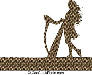 Harp, Mädchen, Silhouette.