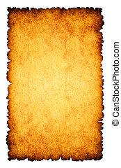 Hart verbranntes Pergamentpapier im Hintergrund