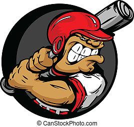 Harter Baseballspieler mit Helm und Baseballschläger