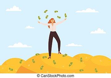 haufen , banknoten, frauenunternehmen, reich, riesig, illustration., wohnung, vektor, steht