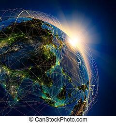 Hauptflugrouten in Asien