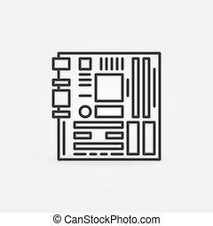 hauptplatine, ikone, grobdarstellung, begriff, edv, vektor