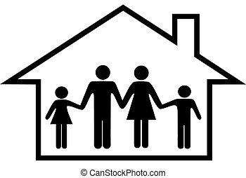 Haus der glücklichen Eltern und Kinder sicher zu Hause